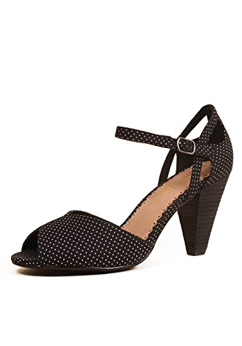 Restricted Dancing Dots Cutout Ankle Strap Peep Toe Pumps (8.5, Black)