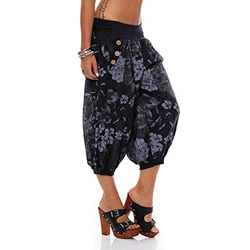 Adeliber Women's Shorts Summer Fashion Printing Band Width Loose Pants Bandwidth Loose Pants Sweatpants Black ()