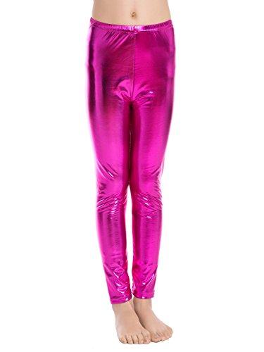 Aaronano Little Girls' Metallic Color Shiny Stretch Leggings Size XXXL(7-8) Rose Red ()