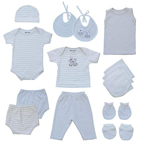 Baby Bright Newborn Clothes Set for Boy 0 to 3 Months 14pcs Set 180GSM BioSilky 100% Combed Cotton with Embroidery - Vest and Shorts, Bodysuit, Pajama Set, Cap, Mittens,Booties,Washcloths and Bibs