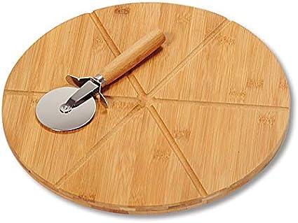 Kesper 58462 - Tagliere Rotondo per Pizza con Rotella tagliapizza, in bambù, Certificato FSC, Diametro 32 cm, Spessore 1,5 cm