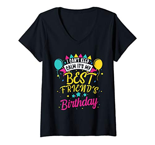 Womens I Cant Keep Calm Its My Best Friend's Birthday Cute Gift V-Neck T-Shirt (Keep Calm Its My Best Friend Birthday)