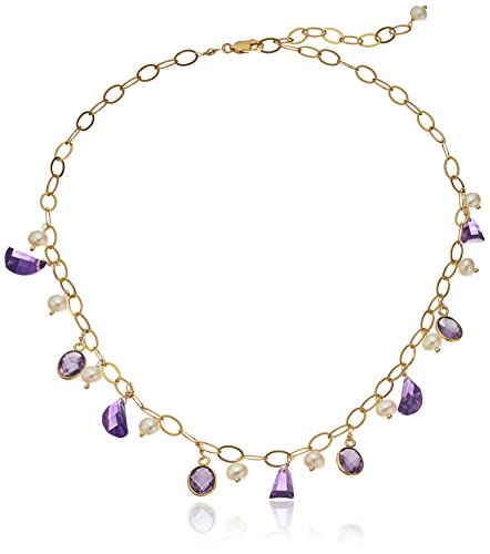 Amethyst and Cultured Freshwater Pearl Bead on Gold Plated Silver Chain Necklace, 13'' + 6'' Extender by Amazon Collection