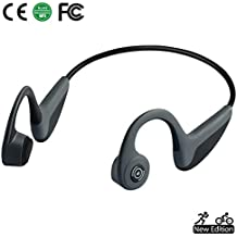 Bone Conduction Headphones Bluetooth 5.0 Open-Ear Wireless Sports Headsets w/ Mic for Jogging Running Driving Cycling, Sweatproof and Lightweight-1.2 oz (Grey)