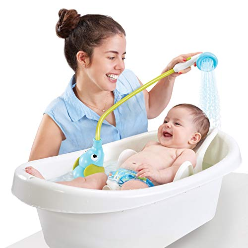 Yookidoo Baby Bath Shower Head - Elephant Water Pump and Trunk Spout Rinser - for Newborn Babies in Tub Or Sink (Blue)