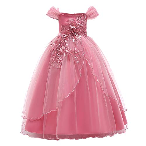 Kids Girl Off Shoulder Embroidery Flower Tulle Lace Long A Line Pageant Dress Wedding Birthday Party Floor Length First Communion Formal Princess Prom Holiday Dance Maxi Ball Gown Pink 9-10 -
