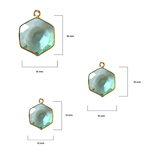 4 Pcs Aquamarine Hexagon Beads 12mm 24K Gold Vermeil by BESTINBEADS, Aquamarine Hydro Quartz Hexagon Pendant Bezel Gemstone Connectors Over 925 Sterling Silver Bezel Jewelry Making Supplies