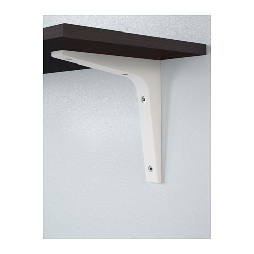 Ikea Ekby Laiva Wall Shelf, Black-Brown and Two White Bracke