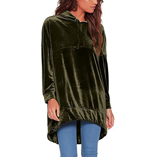 Fashion Nova Sweatshirt Hoodie Velvet Casual Long Hooded Pullover Loose Jumper Tops for Women by Keepfit (L, Army Green) by Keepfit