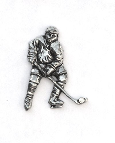 Solid Pewter Ice Hockey Pin Badge (In Gift Pouch)