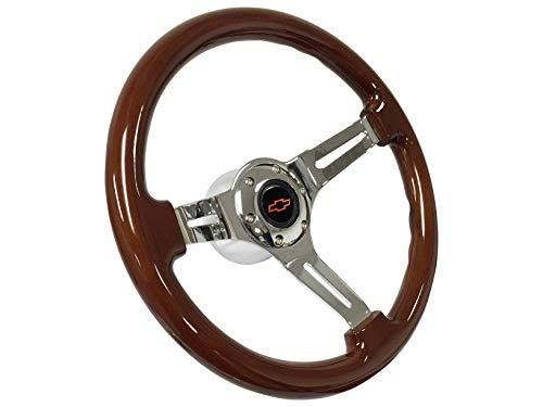 1969-1994 Chevy S6 Mahogany Finish Steering Wheel Chrome Kit | Red Bow Tie