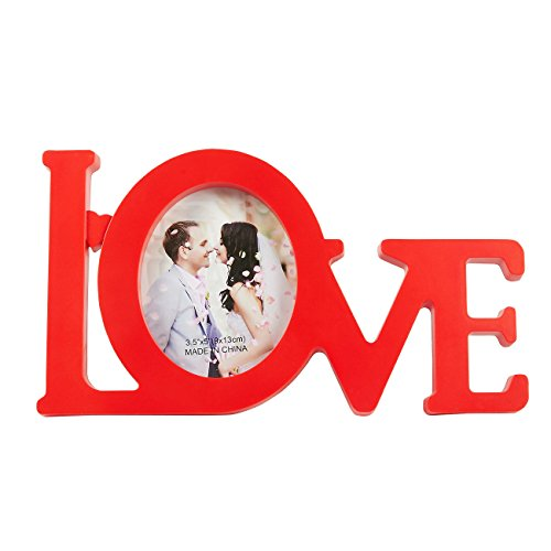 - Juvale Love Shaped Picture Frame - Modern Decorative Photograph Frame Holds 4 x 5 Photos for Anniversary, Wedding, Family, Newlyweds and Couple Photos, Red, 9.7 x 5.5 x 0.5 Inches