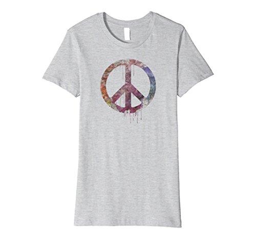 Womens Distressed Watercolor Peace Sign t-shirt, vintage, hippie Medium Heather (Vintage Womens Hippie Shirt)