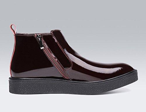 Zapatos Clásicos de Piel para Hombre Botas Martin de los hombres de invierno Botas de algodón de la nieve caliente del estilo británico Zapatos de tacón alto ( Color : Vino rojo , Tamaño : EU44/UK8.5  Vino Rojo