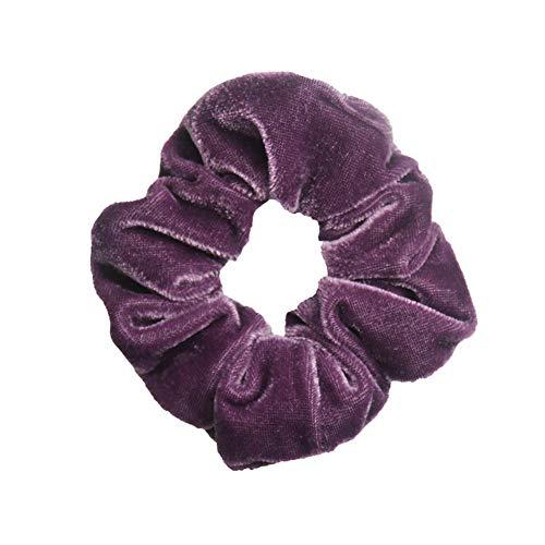 (Lovely Polka Dot Design Hair Scrunchies Ponytail Holder Hair Ties Gum Hair Bands (Color - #56 light purple))