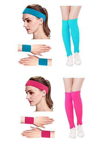 Kimberly's Knit Women 80s Neon Pink Running Headband Wristbands Leg Warmers Set (Free, zHotpink+Lakeblue)