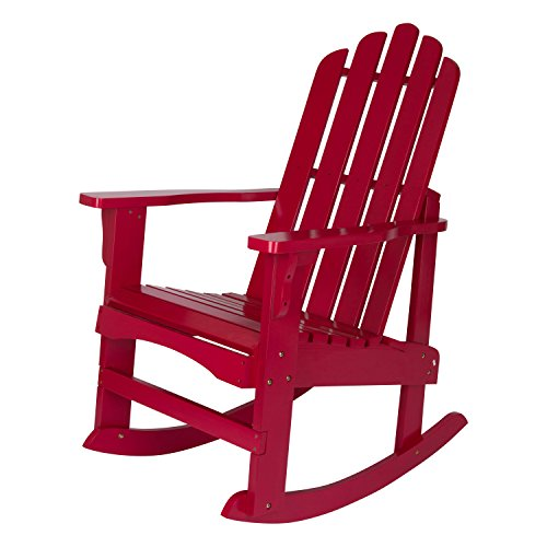 Shine Company Marina Adirondack Rocker, Chili (Red Cedar Adirondack Rocking Chair)