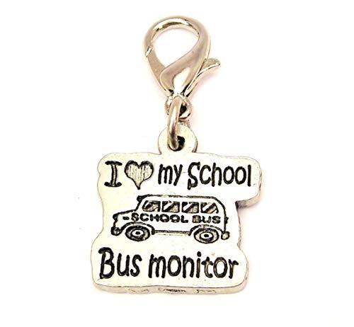 ChubbyChicoCharms I Love My School Bus Monitor Pewter Charm On A Zipper Pull