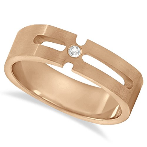 Solitaire Round Cut Diamond Wedding Band For Men Burnished 14k Rose Gold (0.05ct) (Diamond Burnished Band)