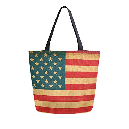 SUABO America Flag Canvas Tote Bag Large Women Casual Shoulder Bag Handbag, Reusable Shopping Grocery Bag for Outdoors