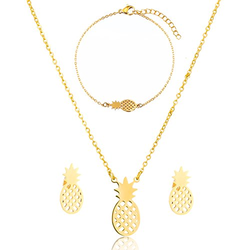 SKQIR Womens Stainless Steel Pineapple Jewelry Sets (Earrings+Bracelets+Necklaces Jewelry Set) (Gold -