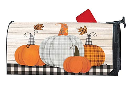 Studio M Fall Outdoor Mailbox Cover MailWrap - Plaid Pumpkin by Studio M