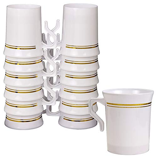 Plastic Tea and Coffee Mugs With Handles, 12 Pack - Elegant Disposable 8 oz Hot Cups For Parties, Events, Weddings - Heavy Duty, Reusable or Disposable - White and Gold Rim - by Prestee -