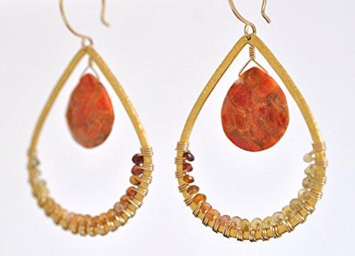 (Sponge Coral & Sapphire Gemstone Earrings - Gold Vermeil and Gold Filled Chandelier Earrings)