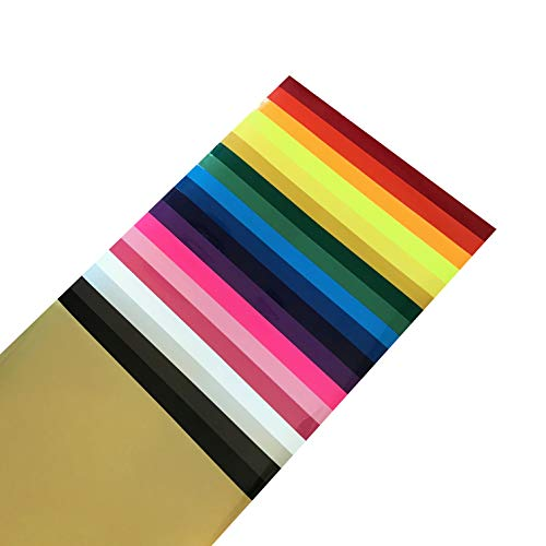 12 x 10 inch Heat Transfer Vinyl Sheets by Cap-sule-20 Assorted Colors Pack -Adhesive HTV Iron on/Heat Press for T-Shirts Fabric Bundle-Easy to Weed for Silhouette Cameo Cricut-Instructions ()