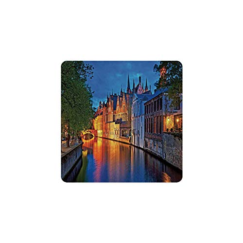Medieval Decor Square Coaster,Night Shot of Historic Middle Age Building along the River in Bruges Heritage Old Town Photo for Home,3.5