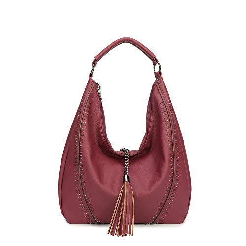 Handbags for Women, Hobo Shoulder Bags Large Compacity Tote Purses With Tassel Decoration (Maroon9130)