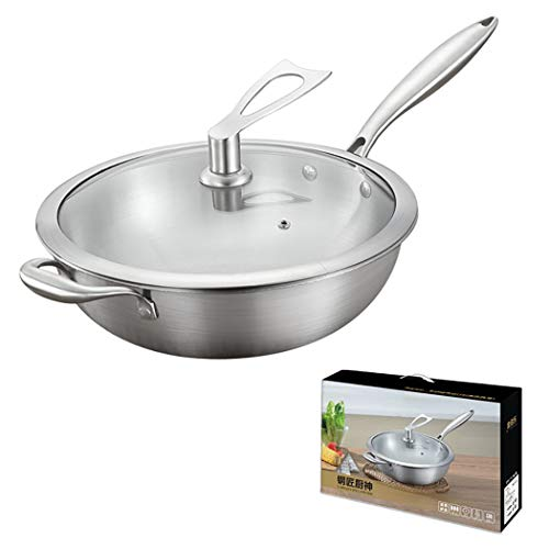 One Piece Multi-Ply Clad 18/10 Stainless Steel Wok Pan Stir Fry Pan With Dome Lid and Steamer Basket, 12.5-inch