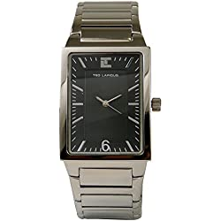 Ted Lapidus -Men's Black Dial Rectangular Watch with Brushed & Satin Steel Band