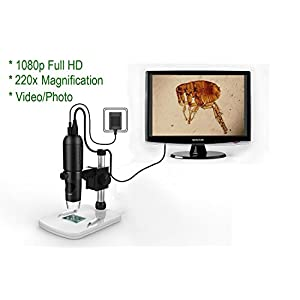 Mustcam 1080P Full HD Digital Microscope, HDMI Microscope, 10x-220x magnification, to Any Monitor/TV with HDMI-In, Photo Capture, Micro-SD Storage, PC supported too