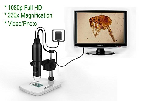 Mustcam 1080P Full HD Digital Microscope, HDMI Microscope, 10x-220x magnification, to Any Monitor/TV with HDMI-In, Photo Capture, Micro-SD Storage, PC supported too by Mustcam