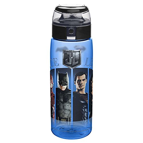 Zak Designs JLMA-K950 DC Comics Justice League Movie BPA Free Water Bottle with Loop 25 Ounce, Multicolor, Single (Superman Classic Cap)