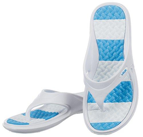 brandsseller Women's Clogs White/Light Blue QLIUM