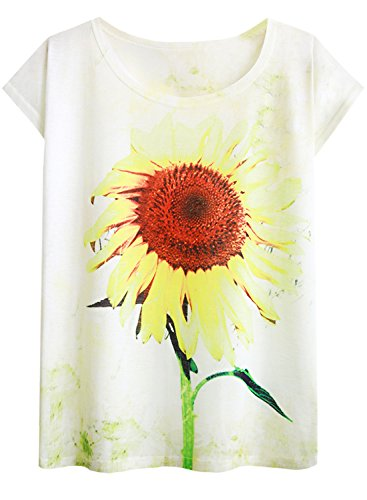 Drop Sleeve T-shirt (Futurino Women's Sunflowers Print Drop Sleeve Pullover T Shirt Top Tees (M, Sunflowers))