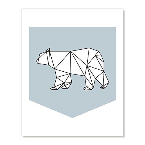 (Geometric Polar Bear Animal Art Print - Blue Black and White Modern Minimalist Style Poster)