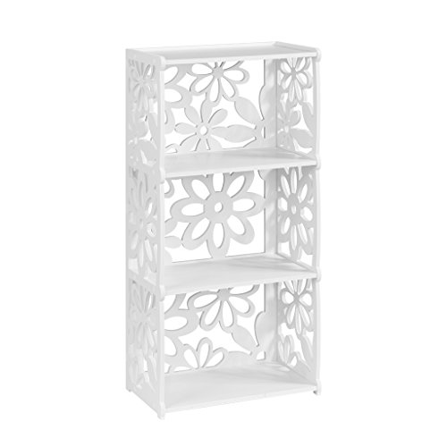 Finether 3-Tier Modular Flower Cut-Out Wood Plastic Composite Shelf Unit Storage Organizer Shelf Bookcase Display Rack, White (Plastic Tier)