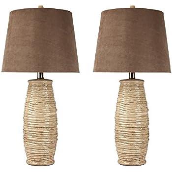 Ashley Furniture Signature Design   Haldis Ceramic Table Lamp    Contemporary Country Chic Shades   Set