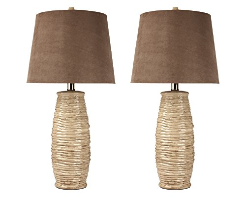 Signature Design by Ashley L136534 Haldis Collection Table Lamp, Set of 2, Beige