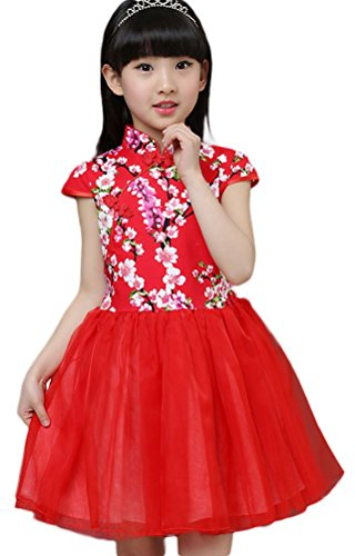Soojun Kids Girls Frog Button Multi-Layer Tulle Pompon Dresses Color #31 4-5 Years