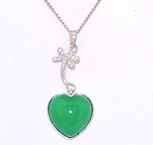 Silver Jade Heart and Dragonfly CZ Pendant