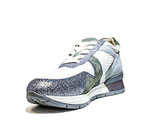 Janet Sport 37855 Chaussures Portimao Assez De Chaussures Femmes Chaussures À Talons, Talon Mi Nouvelle Collection D'été 2016 Au Printemps Blanc En Cuir Argent