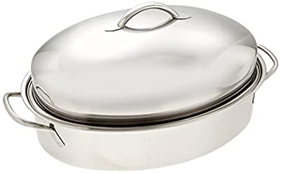 """ExcelSteel Professional Stainless Steel Dome Roaster W/ Roasting Rack, 18.75"""" x 12.25"""" x 8"""""""