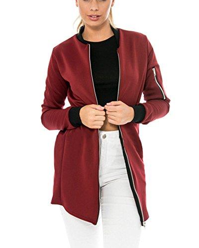 Automne Classique Veste Femme Zip Punk Bomber Jacket Long Manteau en Vrac Cardigan Blouson Vin Rouge