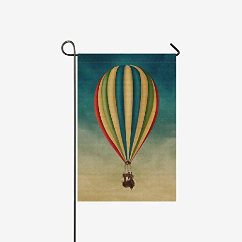 Pretty Lee Garden Flags House Banner Vintage Hot Air Balloon High In The Sky Decorative Flags Double Sided 28 x 40 inch Flg for Home Outdoor Valentine, Easter, Welcome Holiday Yard Flags