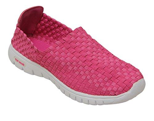 Top Moda Sky-1 Tessuto Elasticizzato Da Donna Casualb Tessuto A Maglia Intrecciato Treccia Slip On Comfort Shoes Fucsia