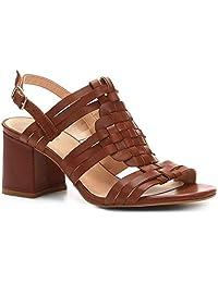 Sandália Couro Shoestock Salto Bloco Tramado